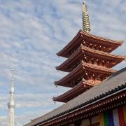 Senso-ji Pagoda with Tokyo's new Sky Tree to the left